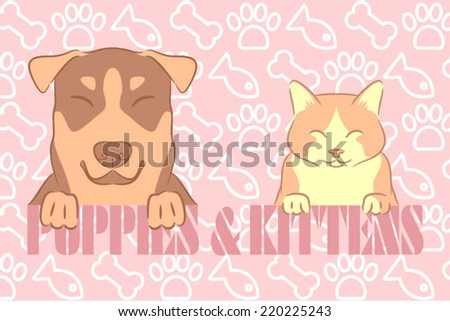 Cute dog and kitten happy together on a message - stock vector
