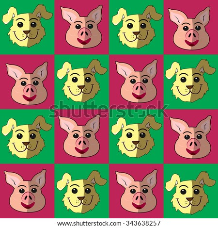 cute dog and pig pattern square background - stock vector