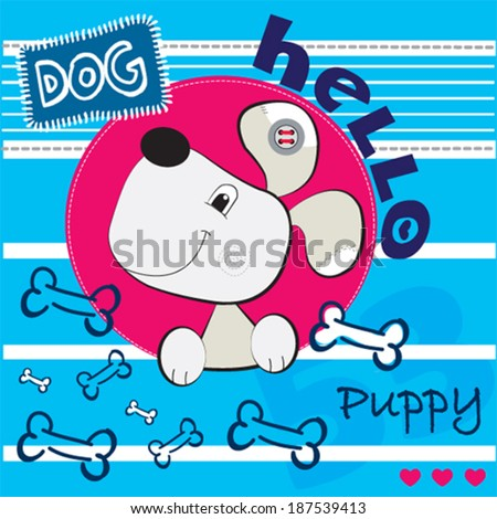 cute dog card striped background vector illustration - stock vector