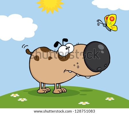 Cute Dog Cartoon Mascot Character With Butterfly On A Meadow - stock vector