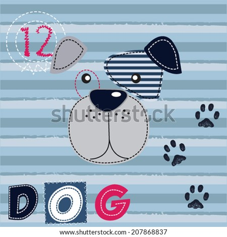 cute dog face striped background vector illustration - stock vector