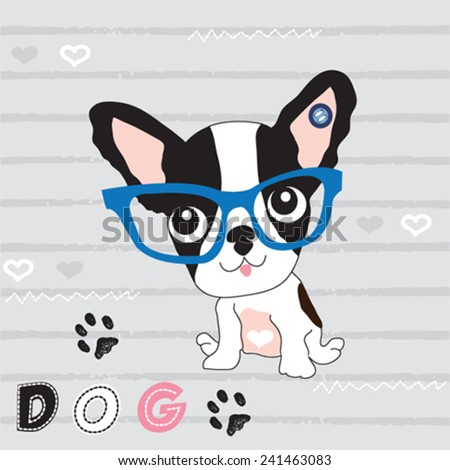 cute dog french bulldog T-shirt graphics striped background vector illustration - stock vector