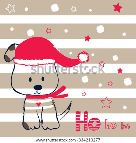 cute dog in a cap and scarf on striped background, Christmas greeting vector illustration - stock vector