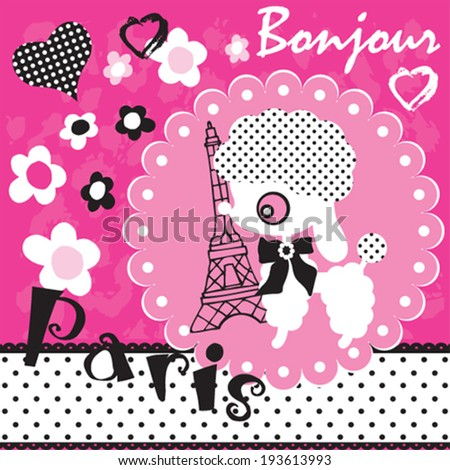 cute dog in Paris with flowers vector illustration - stock vector