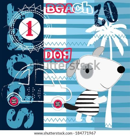 cute dog on the beach vector illustration - stock vector