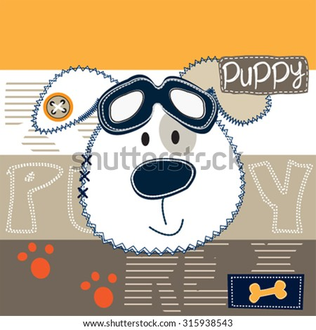 cute dog pilot with glasses on striped background, T-shirt design vector illustration - stock vector