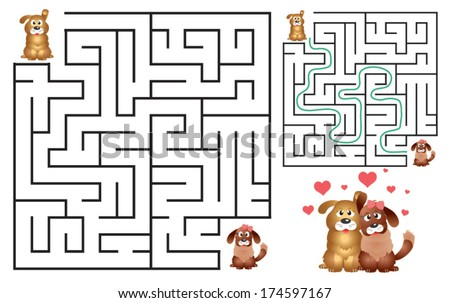 Cute Dog's Maze Game (help dog to find his love) Maze puzzle with solution. Vector illustration - stock vector