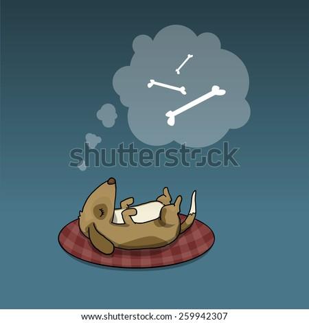 Cute dog, sleeping, dreaming about tasty bones, vector illustration - stock vector