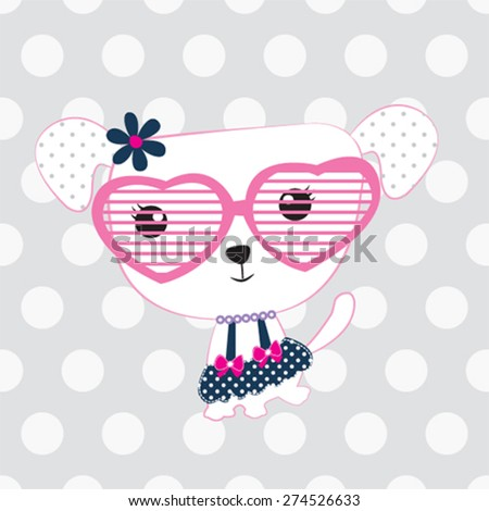 cute dog with glasses, T-shirt design vector illustration - stock vector
