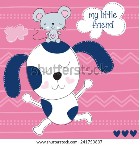cute dog with little friend mouse vector illustration - stock vector