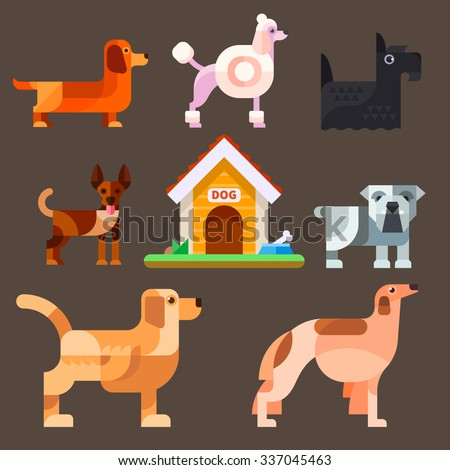 Cute dogs around the kennel: poodle, dachshund, setter, greyhound, chihuahua, bulldog, French bulldog, kennel. Flat vector illustration set. - stock vector