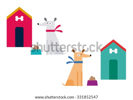 Cute dogs set vector - stock vector