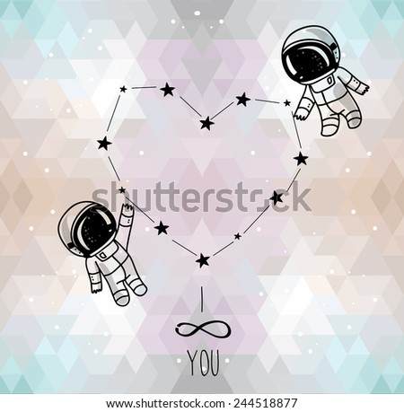 cute doodle astronauts couple and heart formed constellation on trendy geometric background, cosmic card for valentine's day, vector illustration - stock vector