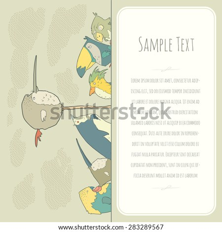 Cute doodle birds greeteng or invitation card with place for your text. Funny colorful cartoon cute birds. Vector illustration - stock vector
