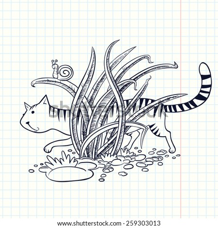 Cute doodle cat in the grass - stock vector