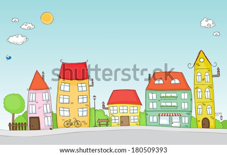 Cute doodle of a colorful cartoon street - stock vector