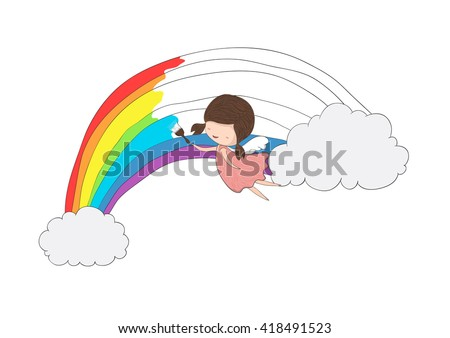 Cute doodle of a girl angel painting a rainbow between two clouds, drawing by hand vector  - stock vector