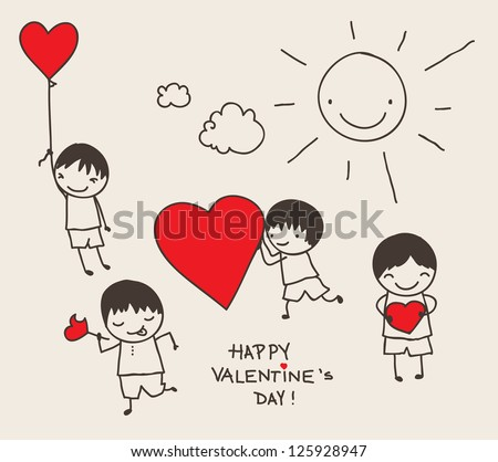 Cute doodle of boys with hearts. - stock vector