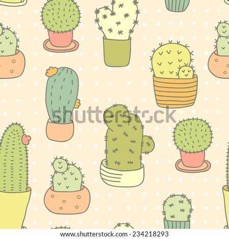 Cute Doodle Pattern With Cactuses. Seamless Vector Background. - stock vector