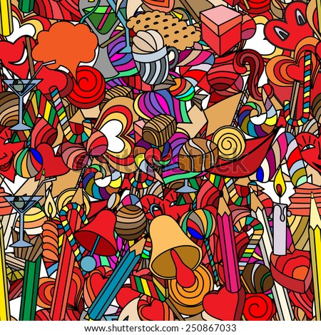 Cute doodle seamless pattern. Love and sweets. - stock vector
