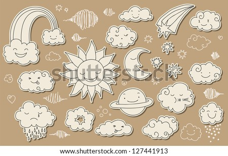 Cute doodle sky and weather related elements for your design. - stock vector