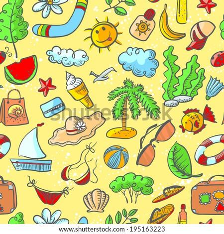 Cute doodle summer stuff seamless pattern - stock vector