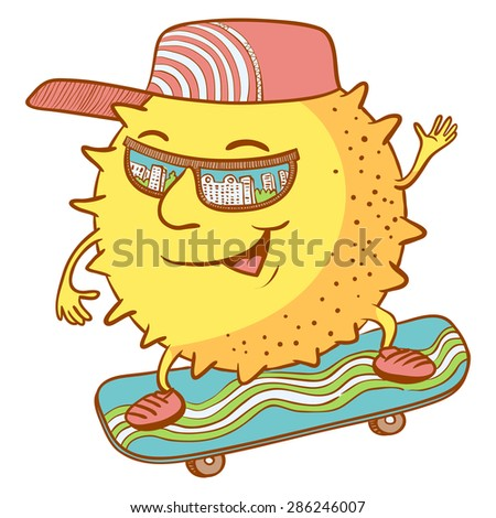 Cute doodle sun character on the skate - stock vector