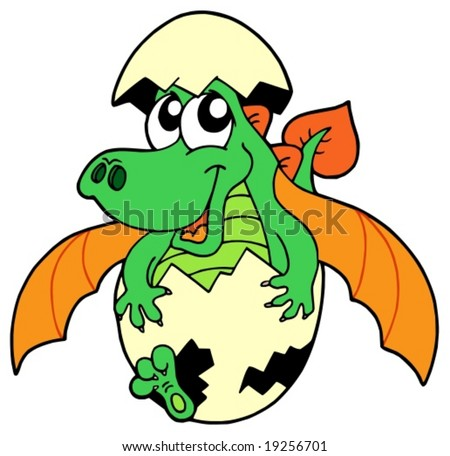 Cute dragon in egg - vector illustration. - stock vector