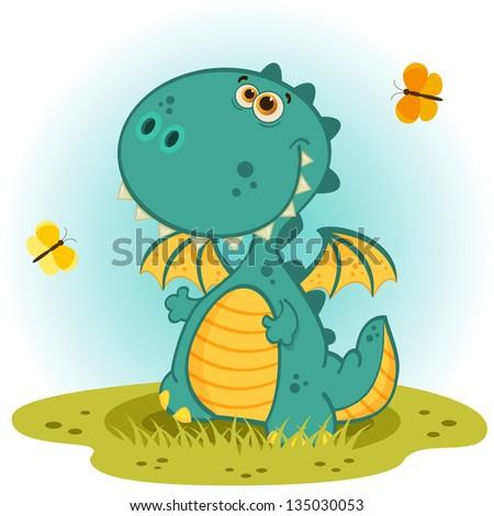 cute dragon vector - stock vector