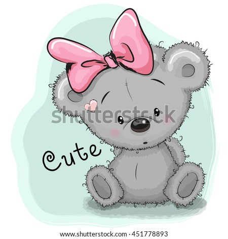Cute Drawing bear girl isolated on a blue background - stock vector