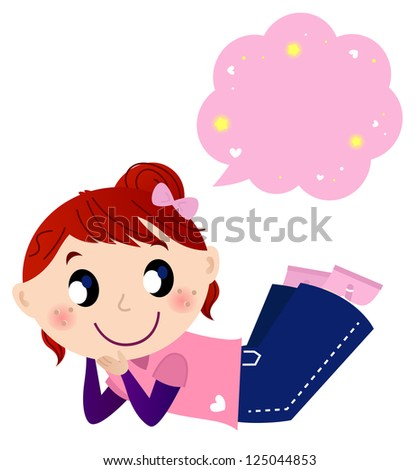Cute dreaming girl with speech bubble isolated on white - stock vector