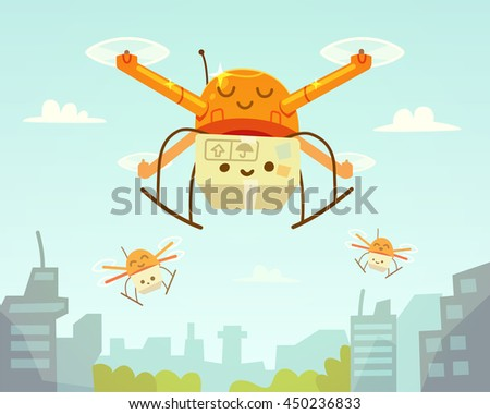 Cute drone and package. Drone delivery. Vector illustration. - stock vector