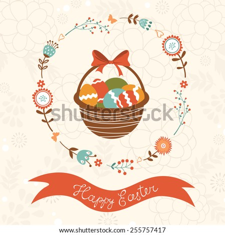 Cute Easter card with basket full of Easter eggs.vector illustration - stock vector
