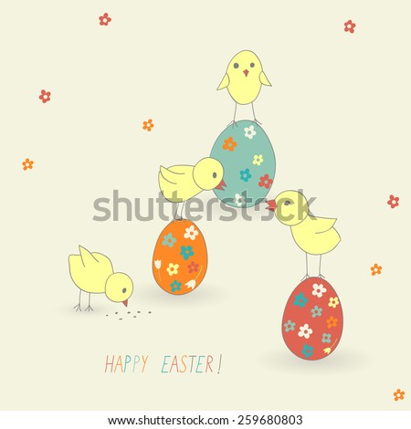 cute Easter card with chicken and eggs - stock vector