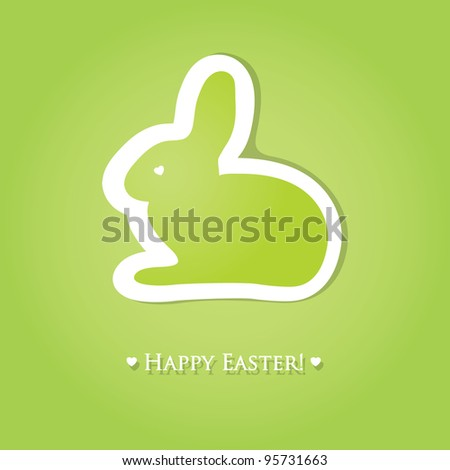 Cute easter card with paper bunny - stock vector