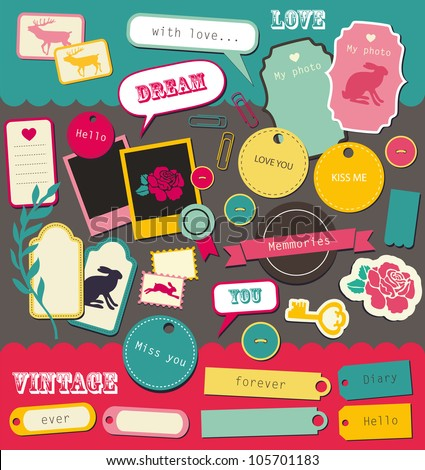 cute elements for scrapbooking. vector illustration - stock vector