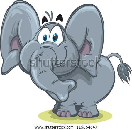 Cute elephant - stock vector