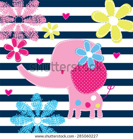 cute elephant baby with flowers on striped background vector illustration - stock vector