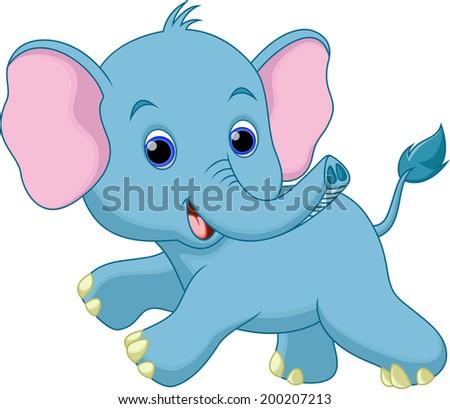 Cute elephant cartoon - stock vector