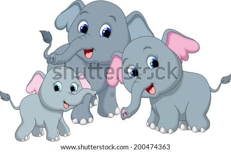 Cute elephant family cartoon - stock vector