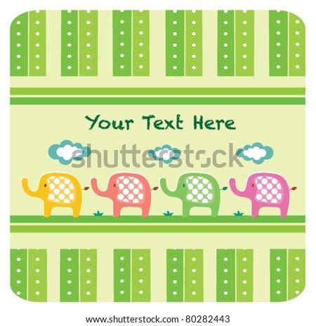 Cute elephant invitation card - stock vector