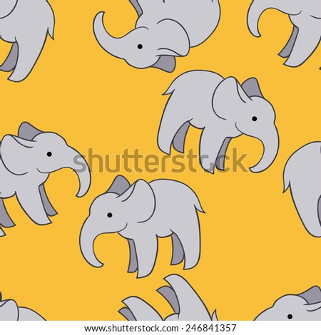 Cute elephant pattern on yellow background - stock vector