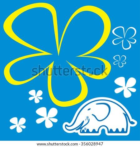 Cute Elephant - Vector File EPS10 - stock vector