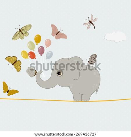 Cute elephant with balloons and butterflies - stock vector
