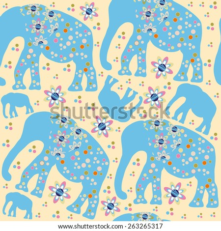 Cute elephants seamless pattern and seamless pattern in swatch menu, vector illustration. Adorable  image in soft colors for print and web. - stock vector