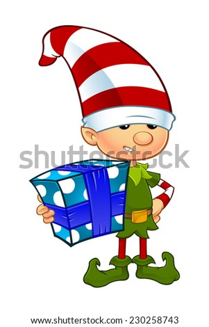 Cute Elf Character - Holding Present - stock vector