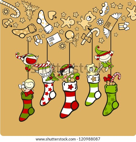 Cute elves with Christmas stockings - stock vector