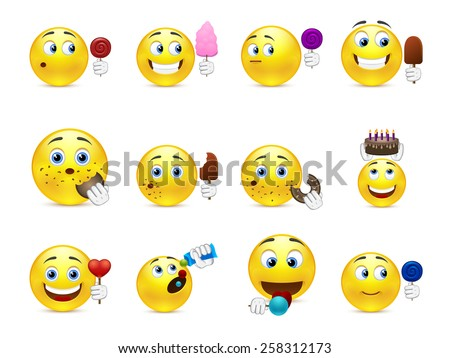 Cute emoticons with different sweet snacks in hand and not only - stock vector