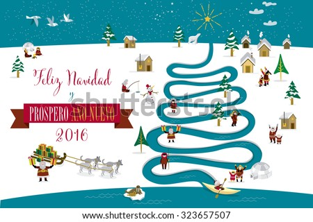 Cute eskimos characters celebrating Christmas and New Year 2016 holidays in little snowy village with a river in tree form. Text in spanish. - stock vector