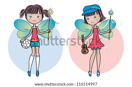 Cute fairy twin sisters: Sporty and Artsy. - stock vector
